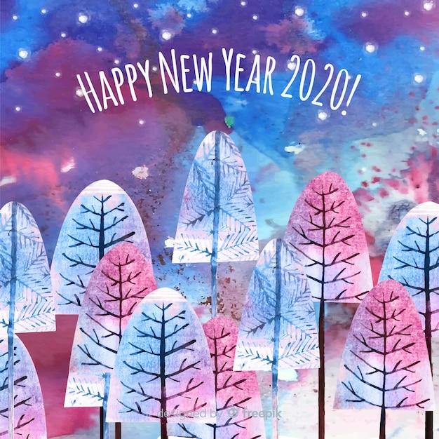 Concept De Nouvel An à L'aquarelle Vecteur gratuit