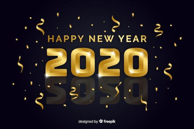 Concept de nouvel an avec un design doré Vecteur gratuit