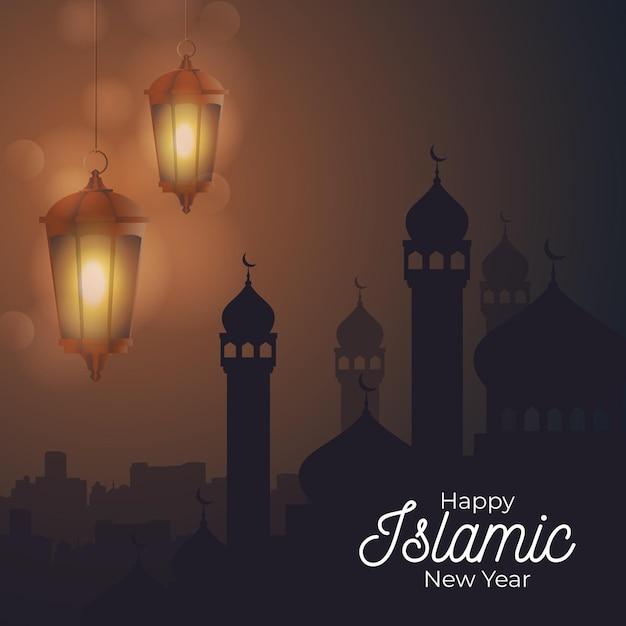 Concept De Nouvel An Islamique Plat Vecteur gratuit