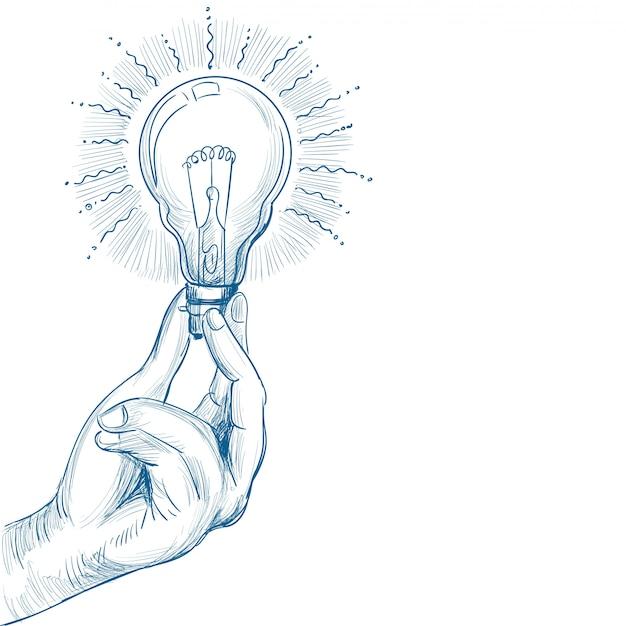 Concept De Nouvelle Idée Dessiné Main Avec Main Tenant Croquis D'ampoule Vecteur gratuit