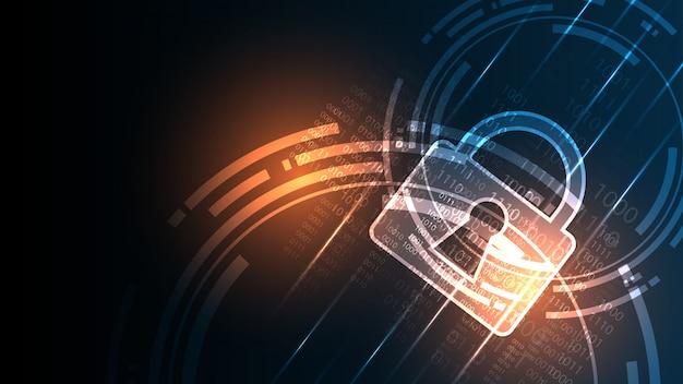 Concept numérique de sécurité cyber fond abstrait technologie Vecteur Premium