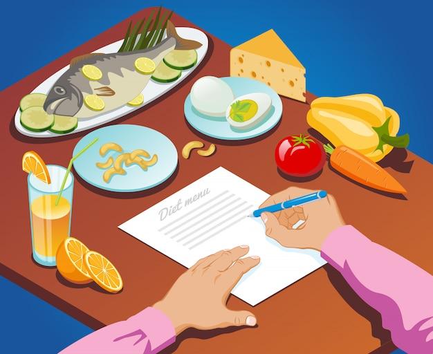 Le Concept De Nutrition Isométrique Approprié Avec L'homme Fait Un Menu De Régime De Produits Alimentaires Sains Vecteur gratuit