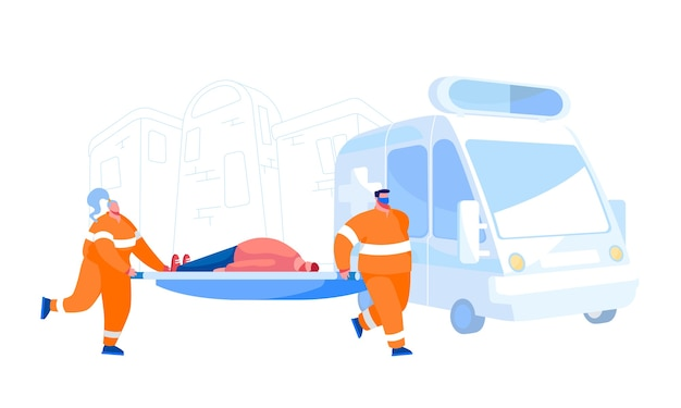 Concept D'occupation Des Services De Personnel Médical D'ambulance. Médecins Transportant Un Patient Blessé à L'hôpital. Personnages Et Voiture De Médecin Paramédical D'urgence, Soins De Santé. Gens De Dessin Animé Vecteur Premium