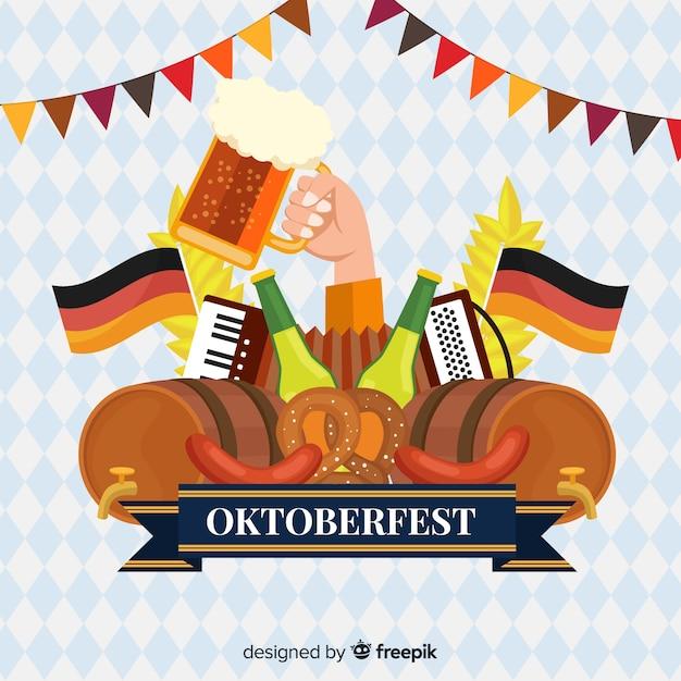 Concept Oktoberfest Avec Fond Design Plat Vecteur gratuit