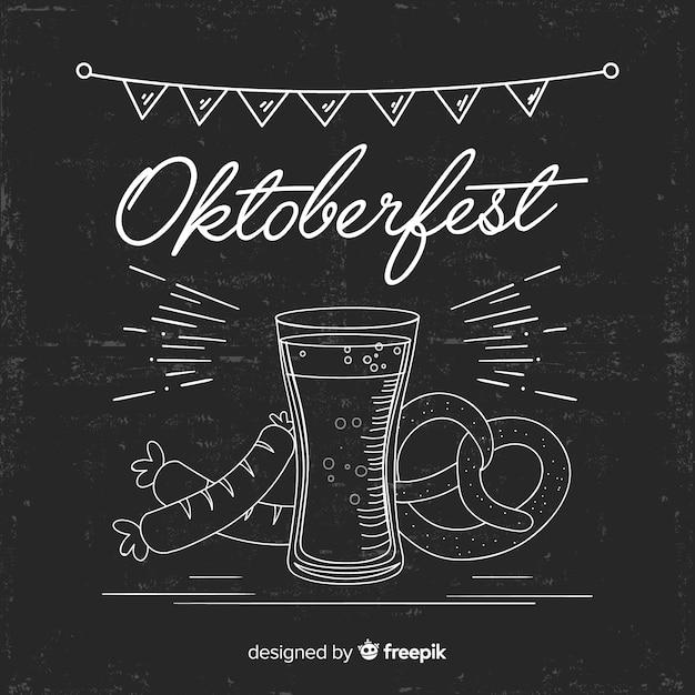 Concept oktoberfest sur fond de tableau noir Vecteur gratuit
