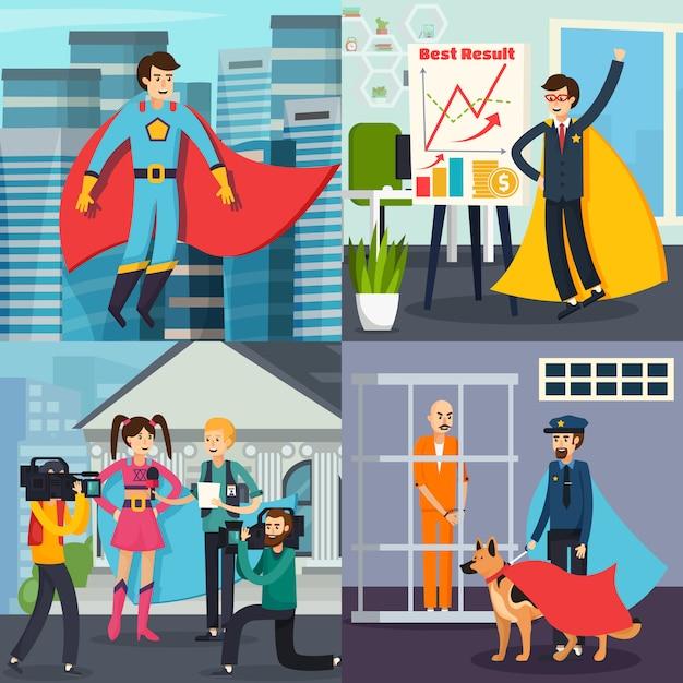 Concept orthogonal de super-héros Vecteur gratuit