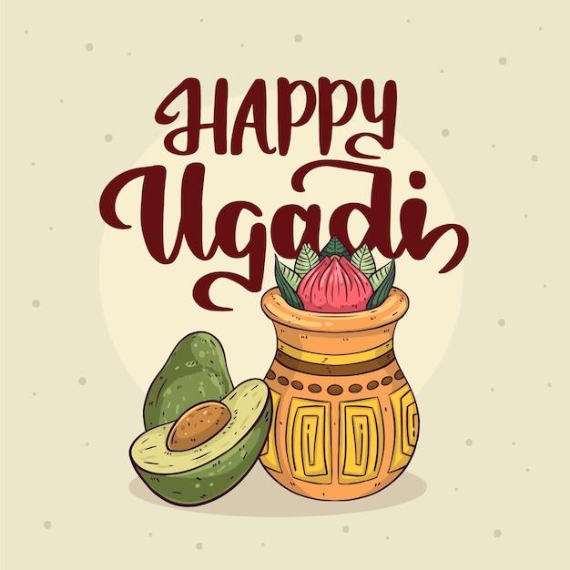 Concept Ougadi Heureux Dessiné à La Main Vecteur gratuit