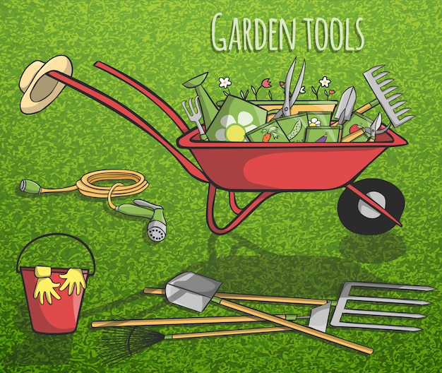 Concept d'outils de jardin Vecteur gratuit