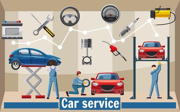 Concept d'outils de service de voiture, style cartoon Vecteur Premium
