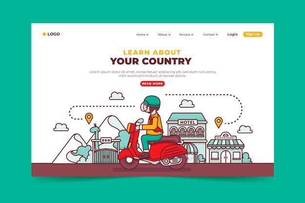 Concept De Page De Destination Du Tourisme Local Vecteur gratuit