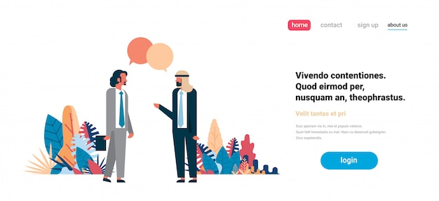 Concept de page de destination avec des hommes d'affaires Vecteur Premium