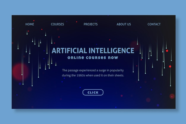 Concept De Page De Destination D'intelligence Artificielle Vecteur Premium