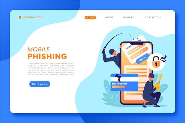 Concept De Page De Destination De Phishing Mobile Vecteur gratuit