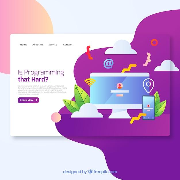 Concept de page de destination de programmation moderne Vecteur gratuit
