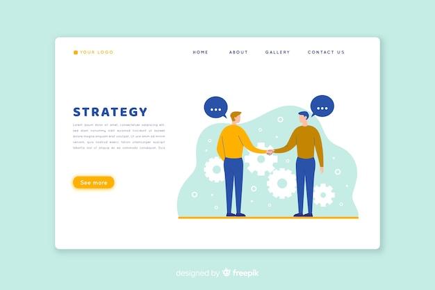 Concept de page de destination avec stratégie commerciale Vecteur gratuit
