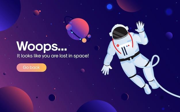 Le Concept De Page Web D'erreur 404 Avec L'astronaute Dans L'espace Ouvert Entre Différentes Planètes Vecteur Premium