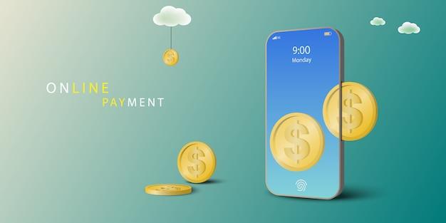 Concept De Paiement En Ligne. Les Pièces Sont Insérées Dans Le Téléphone Mobile. Payez Sur Mobile. Perspective . Vecteur Premium