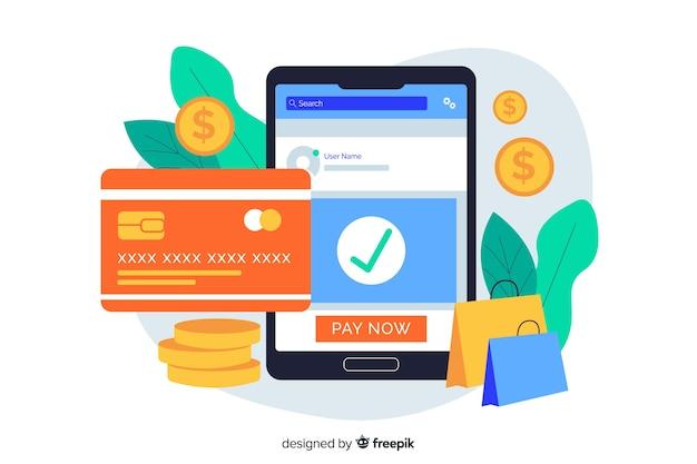 Concept de paiement par carte de crédit pour la page de destination Vecteur gratuit