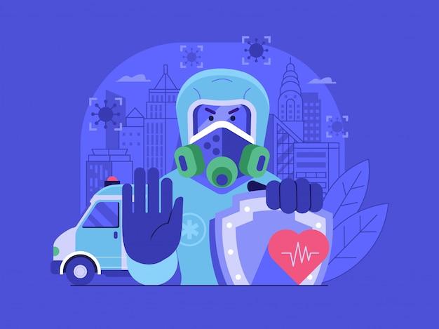 Concept De Pandémie De Coronavirus De Ville De Quarantaine Avec épidémiologiste En Costume De Danger Biologique. Vecteur Premium