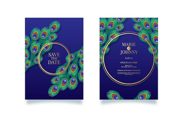 Concept De Paon Pour Invitation De Mariage Vecteur gratuit