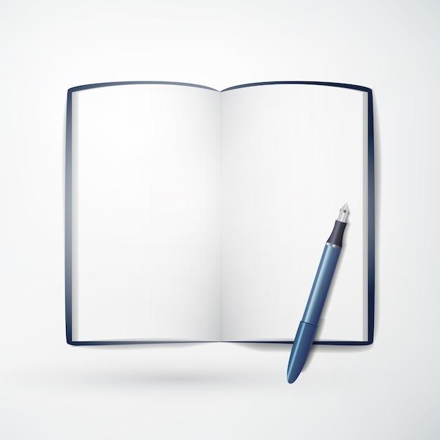 Concept De Papeterie De Bureau Léger Avec Bloc-notes Vierge Réaliste Et Crayon Bleu Sur Blanc Isolé Vecteur gratuit