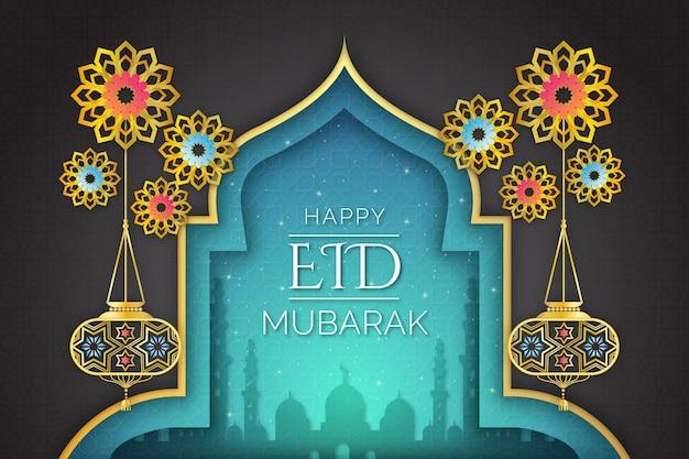 Concept De Papier Arabe Style Eid Mubarak Vecteur gratuit