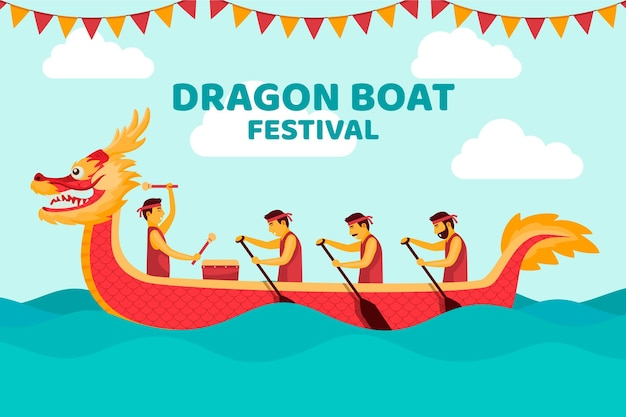 Concept De Papier Peint Bateaux Dragon Zongzi Vecteur gratuit
