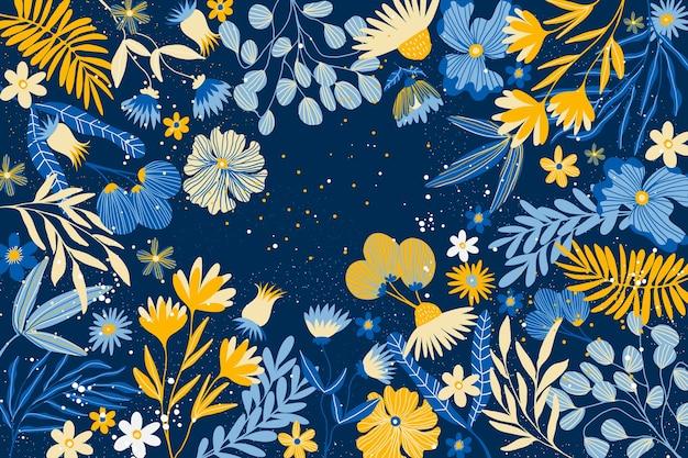 Concept De Papier Peint Floral Abstrait Design Plat Vecteur gratuit