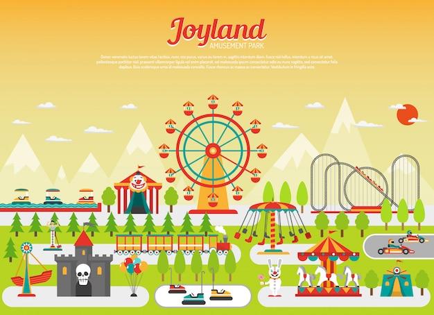 Concept de parc d'attractions avec des éléments de champs de foire plats avec des montagnes en arrière-plan Vecteur gratuit
