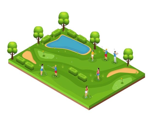 Concept De Parcours De Golf Isométrique Avec Des Golfeurs Jouant Sur Des Drapeaux De Terrain Trous Arbres De Pelouse Verte Et étang Vecteur gratuit