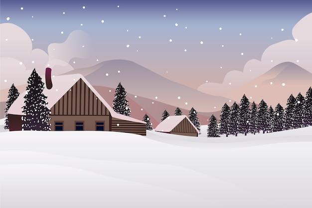 Concept de paysage d'hiver dessiné à la main Vecteur gratuit