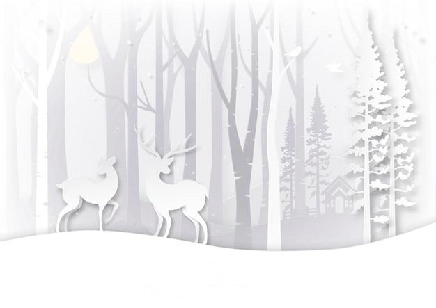 Concept De Paysage Et Jour De Noël De Saison D'hiver. Vecteur Premium