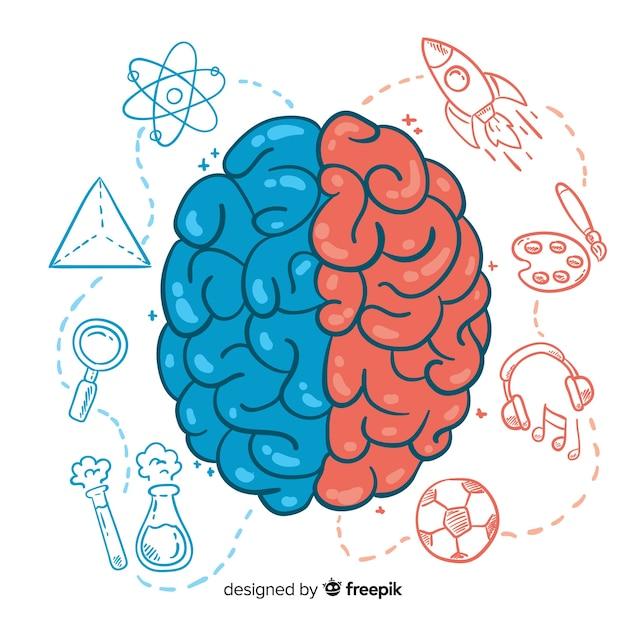 Concept de pensée dessiné à la main Vecteur gratuit