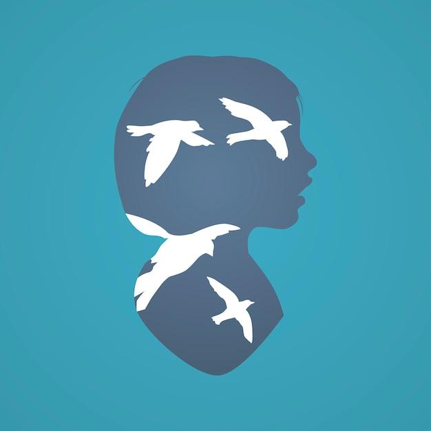 Concept de pensée humaine concept de pensée imaginaire Vecteur gratuit