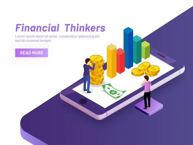 Concept de penseurs financiers. Vecteur Premium