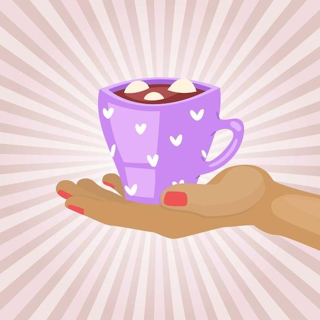 Concept De Petit-déjeuner, Café Chaud Du Matin, Boisson Chaude, Arôme Cappuccino, Tenir La Tasse Chaude, Illustration. Vecteur Premium