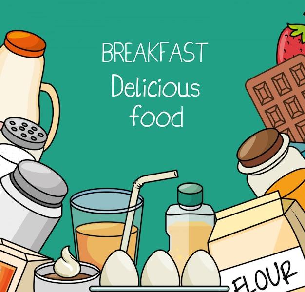 Concept De Petit Déjeuner Nourriture Délicieuse Vecteur gratuit