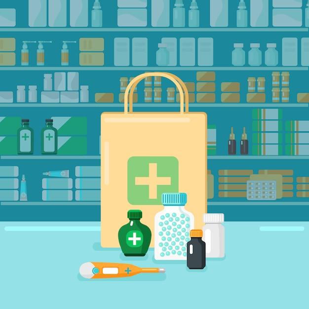 Concept de pharmacie colorée Vecteur gratuit