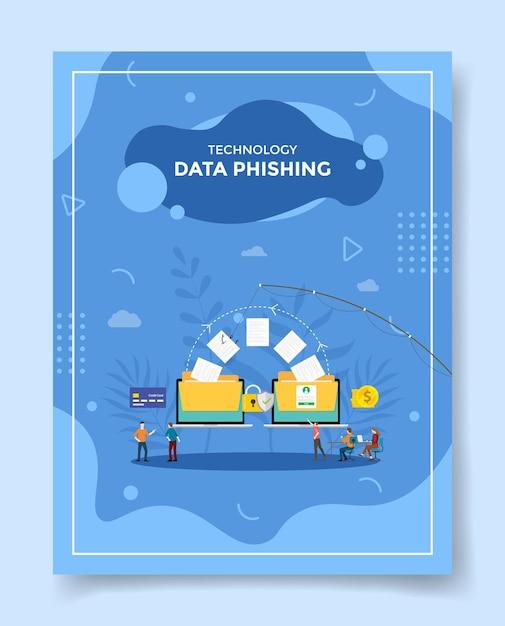 Concept De Phishing De Données Technologiques Personnes Autour De Données De Papier De Pêche Sur Ordinateur Portable Vecteur Premium
