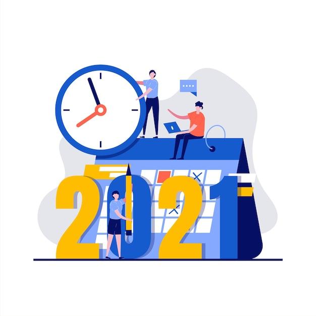 Concept De Plan Avec Caractère, Horloge, Calendrier. Vecteur Premium