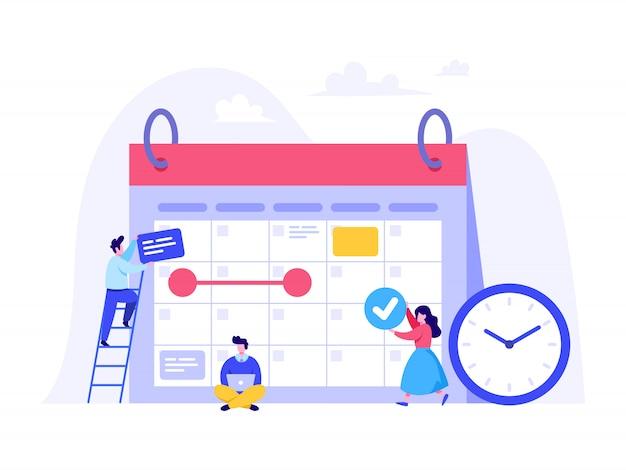 Concept De Planification D'horaires Pour Page De Destination, Interface Utilisateur, Site Web, Page D'accueil Vecteur Premium