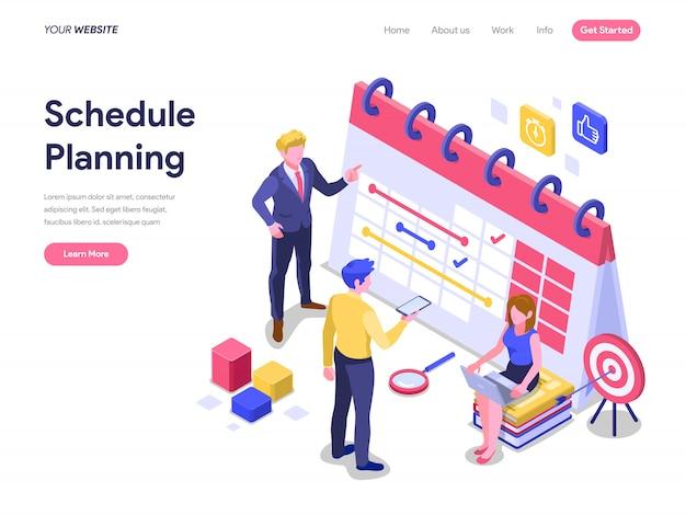 Concept De Planification D'horaires Pour Page De Renvoi, Site Web, Page D'accueil Vecteur Premium