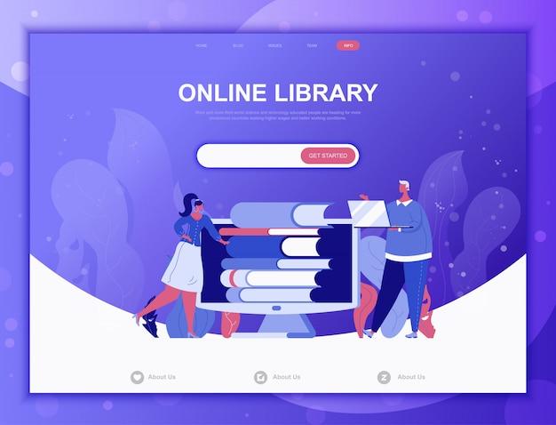 Concept plat de bibliothèque en ligne, modèle web de page de destination Vecteur Premium