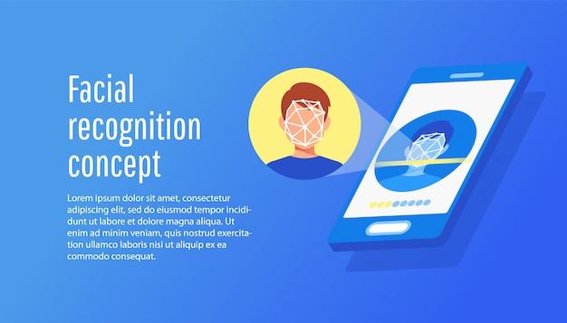 Concept plat d'identification du visage du jeune homme. Vecteur Premium
