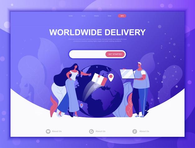 Concept de plat de livraison dans le monde entier, modèle web de page de destination Vecteur Premium