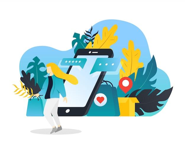 Concept Plat Moderne De Magasinage En Ligne Pour Le Développement De Sites Web Mobiles. Vecteur Premium
