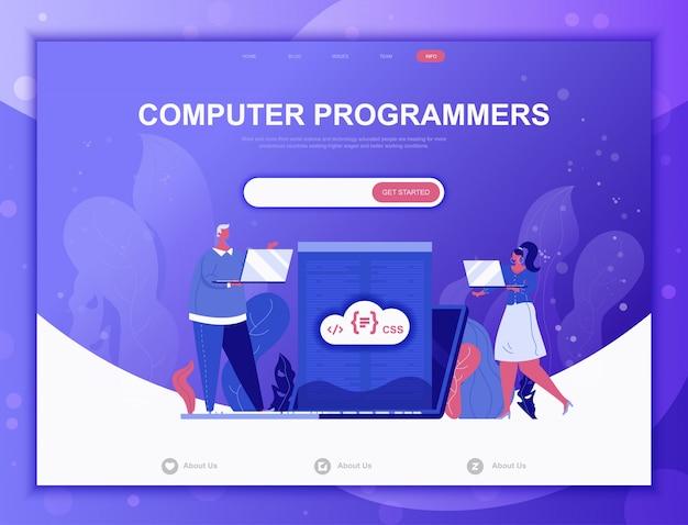 Concept plat de programmeurs informatiques, modèle web de page de destination Vecteur Premium