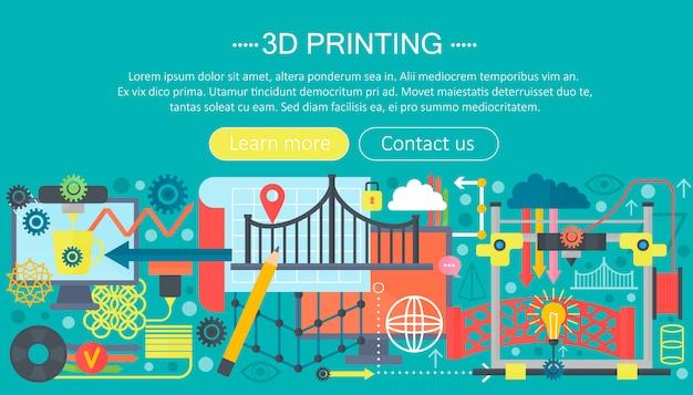 Concept plat de technologie d'imprimante 3d Vecteur Premium