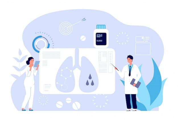 Concept De Pneumologie. Diagnostic Des Maladies Respiratoires, Problème Pulmonaire. Chirurgie Pulmonaire, échographie Bronchique. Vecteur Premium