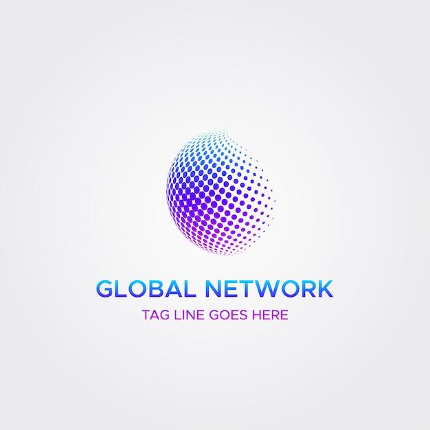 Concept de points de demi-teinte cercle cercle global logo technologie Vecteur Premium
